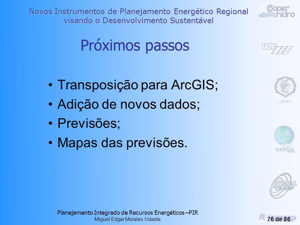 Próximos passos Transposição para ArcGIS; Adição de novos dados;