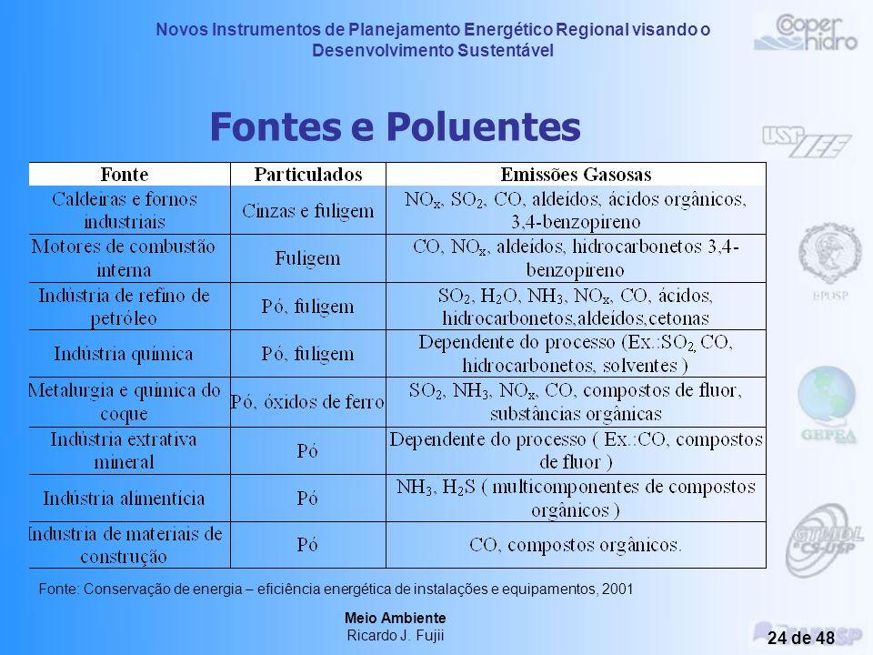 Fontes e Poluentes Fonte: Conservação de energia – eficiência energética de instalações e equipamentos, 2001.