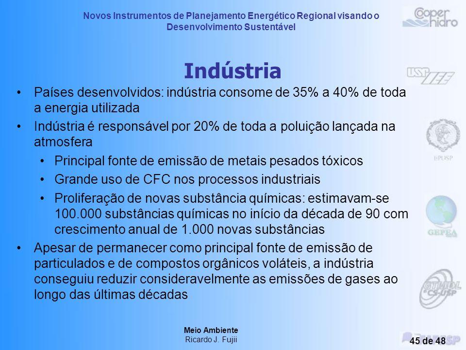 Indústria Países desenvolvidos: indústria consome de 35% a 40% de toda a energia utilizada.