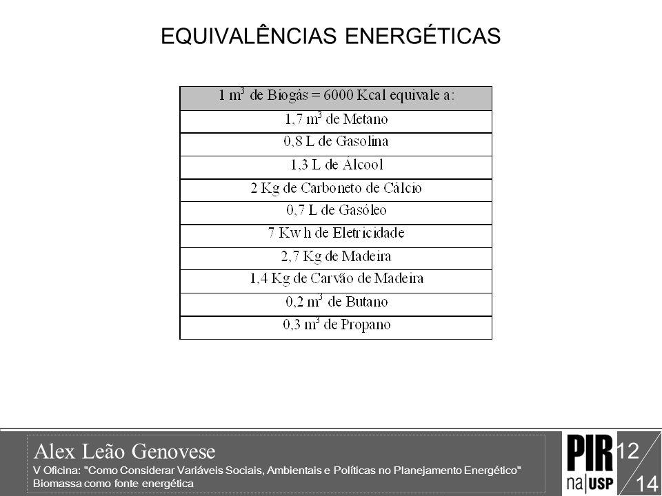 EQUIVALÊNCIAS ENERGÉTICAS