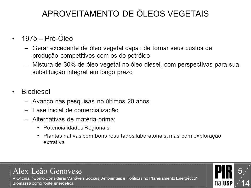 APROVEITAMENTO DE ÓLEOS VEGETAIS