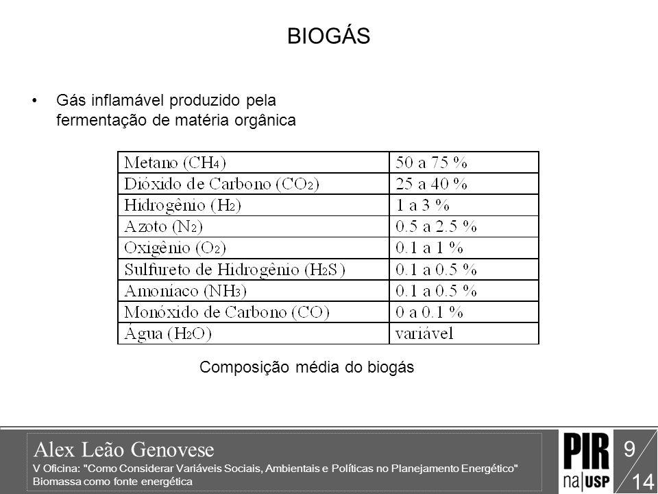 Composição média do biogás
