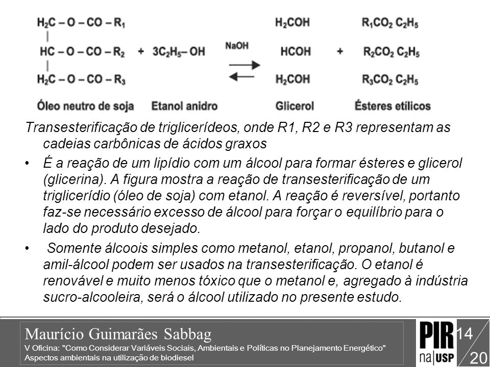 Transesterificação de triglicerídeos, onde R1, R2 e R3 representam as cadeias carbônicas de ácidos graxos