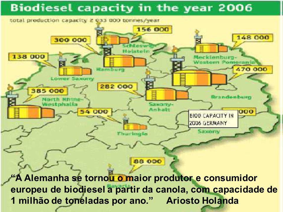 A Alemanha se tornou o maior produtor e consumidor europeu de biodiesel a partir da canola, com capacidade de 1 milhão de toneladas por ano. Ariosto Holanda