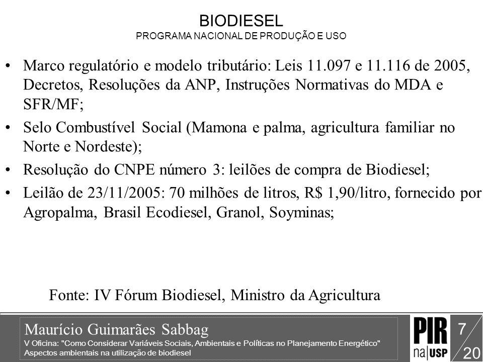 BIODIESEL PROGRAMA NACIONAL DE PRODUÇÃO E USO
