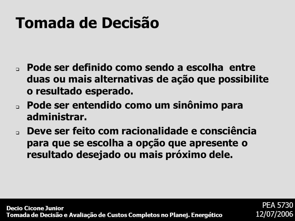 Tomada de DecisãoPode ser definido como sendo a escolha entre duas ou mais alternativas de ação que possibilite o resultado esperado.