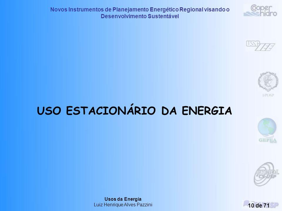 USO ESTACIONÁRIO DA ENERGIA