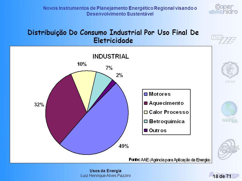 Distribuição Do Consumo Industrial Por Uso Final De Eletricidade