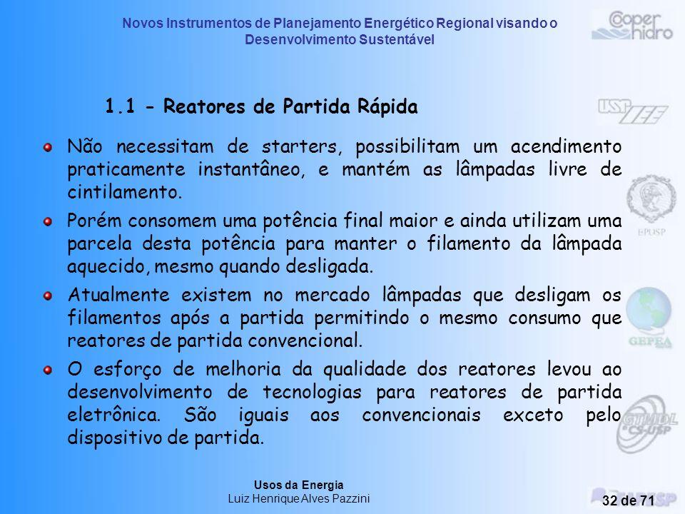 1.1 - Reatores de Partida Rápida