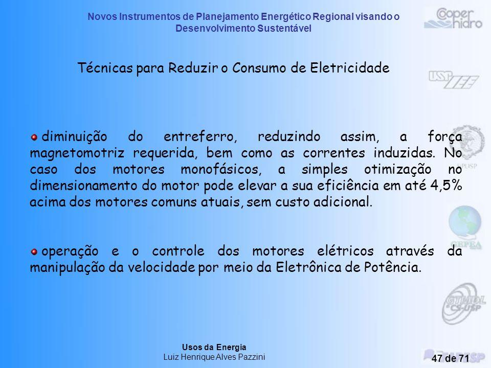Técnicas para Reduzir o Consumo de Eletricidade