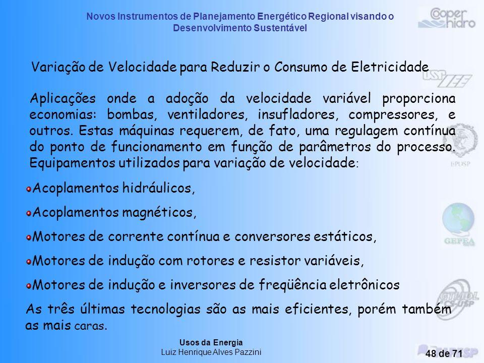 Variação de Velocidade para Reduzir o Consumo de Eletricidade