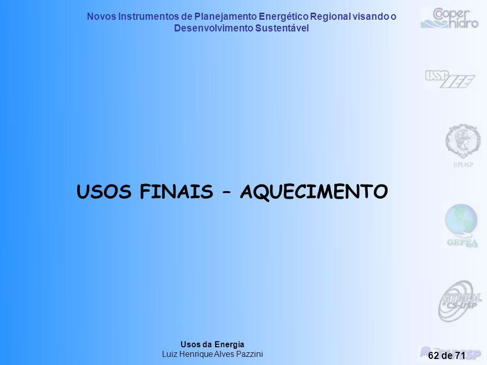 USOS FINAIS – AQUECIMENTO