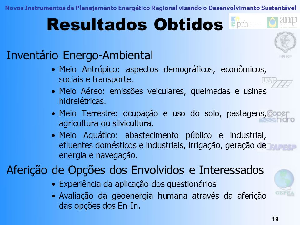 Resultados Obtidos Inventário Energo-Ambiental