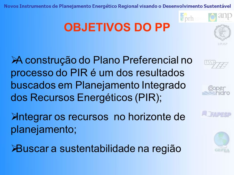 OBJETIVOS DO PP