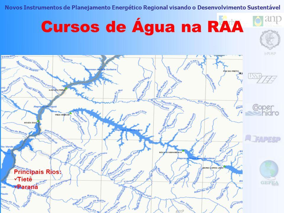 Cursos de Água na RAA Principais Rios: Tietê Paraná