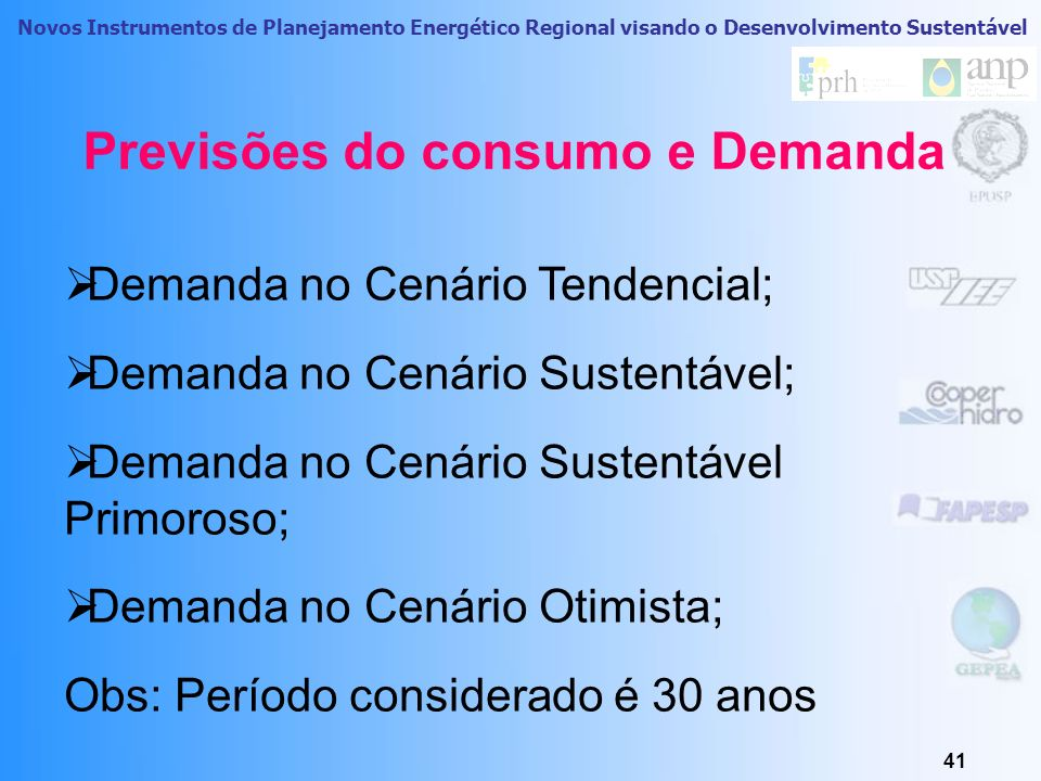 Previsões do consumo e Demanda