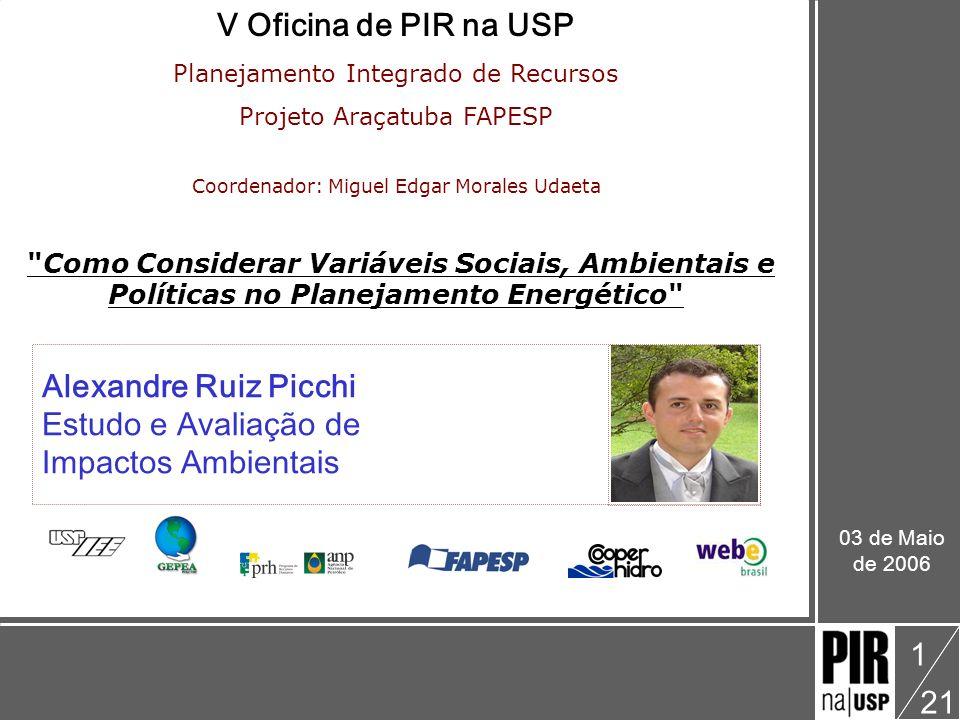 V Oficina de PIR na USP Alexandre Ruiz Picchi Estudo e Avaliação de