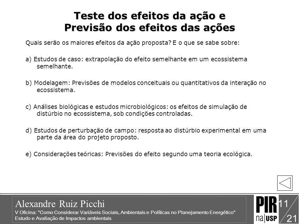 Teste dos efeitos da ação e Previsão dos efeitos das ações