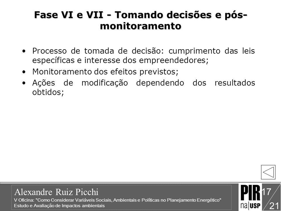 Fase VI e VII - Tomando decisões e pós-monitoramento