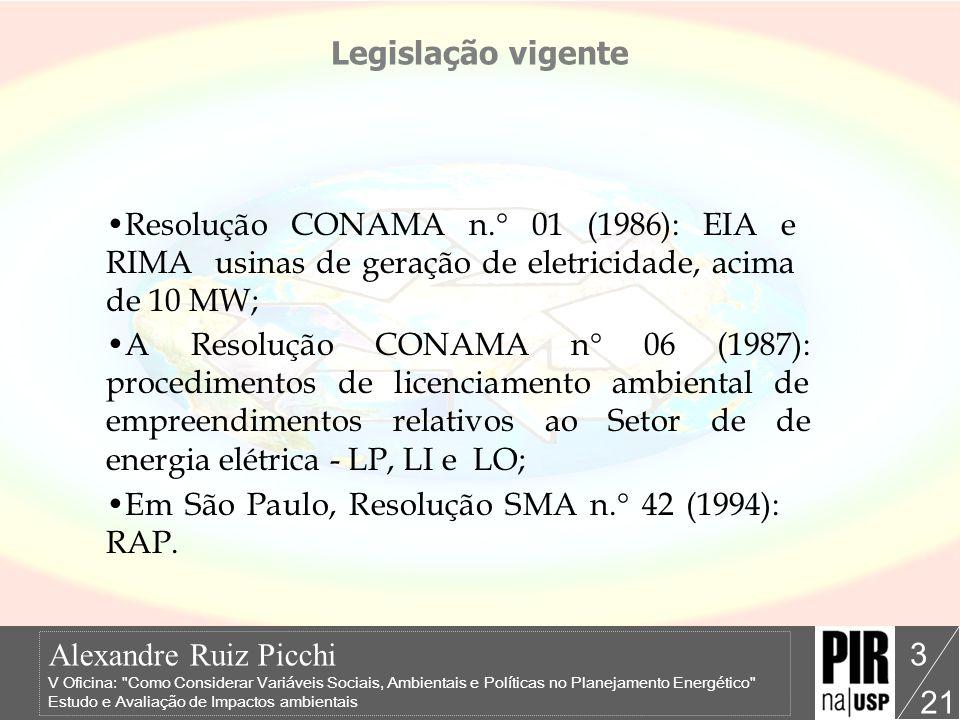 Legislação vigente Resolução CONAMA n.° 01 (1986): EIA e RIMA usinas de geração de eletricidade, acima de 10 MW;