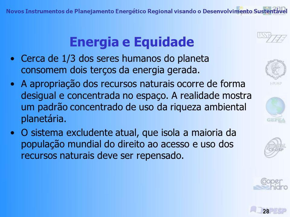 Energia e Equidade Cerca de 1/3 dos seres humanos do planeta consomem dois terços da energia gerada.