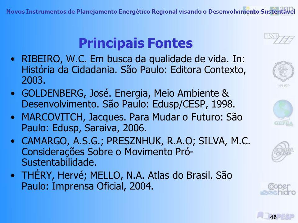 Principais Fontes RIBEIRO, W.C. Em busca da qualidade de vida. In: História da Cidadania. São Paulo: Editora Contexto, 2003.