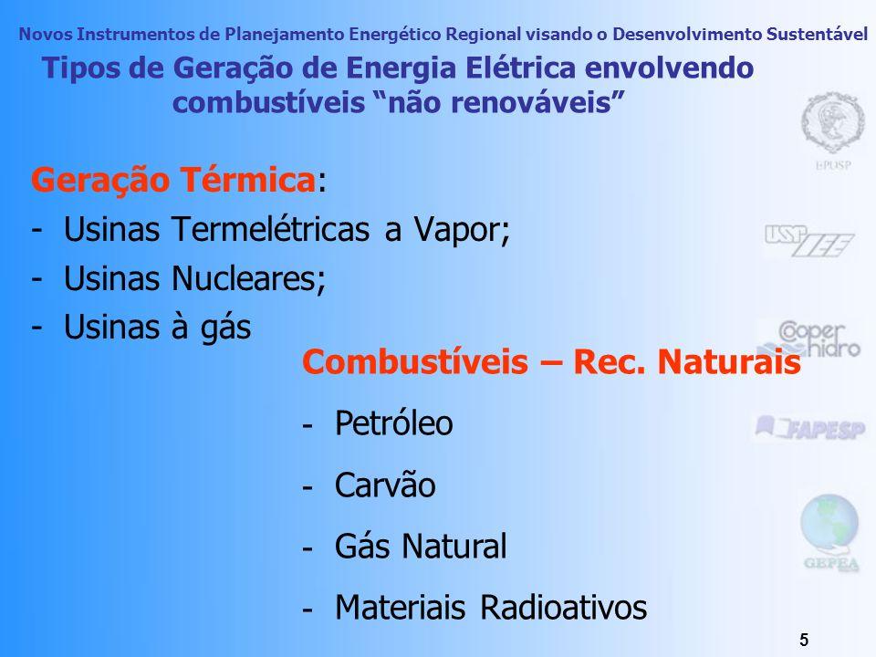 Usinas Termelétricas a Vapor; Usinas Nucleares; Usinas à gás