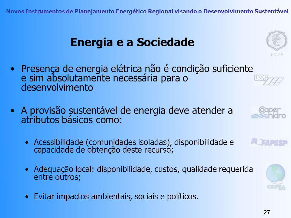 Energia e a Sociedade Presença de energia elétrica não é condição suficiente e sim absolutamente necessária para o desenvolvimento.