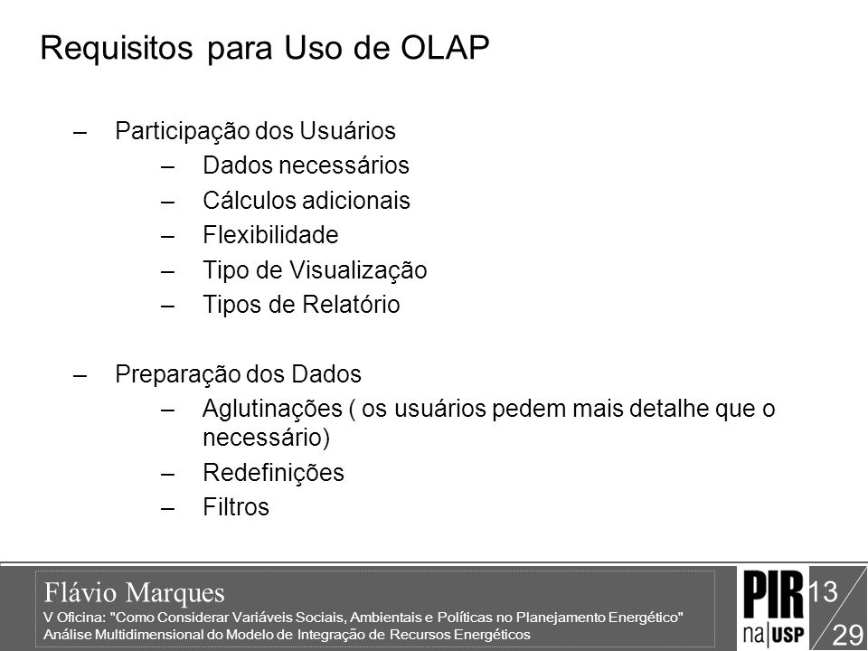 Requisitos para Uso de OLAP