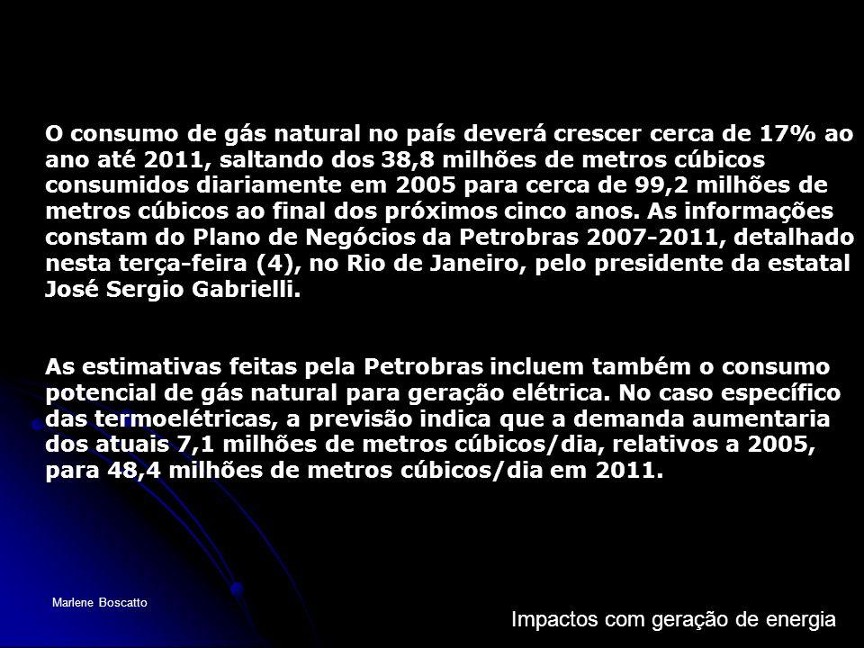 O consumo de gás natural no país deverá crescer cerca de 17% ao ano até 2011, saltando dos 38,8 milhões de metros cúbicos consumidos diariamente em 2005 para cerca de 99,2 milhões de metros cúbicos ao final dos próximos cinco anos. As informações constam do Plano de Negócios da Petrobras 2007-2011, detalhado nesta terça-feira (4), no Rio de Janeiro, pelo presidente da estatal José Sergio Gabrielli.