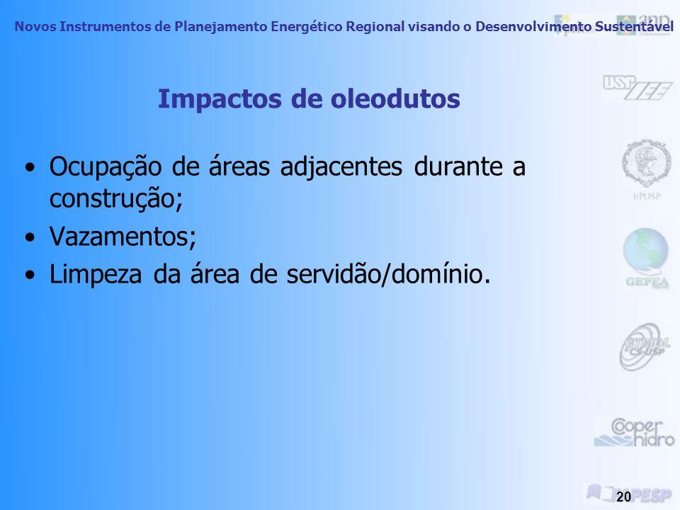 Impactos de oleodutos Ocupação de áreas adjacentes durante a construção; Vazamentos; Limpeza da área de servidão/domínio.