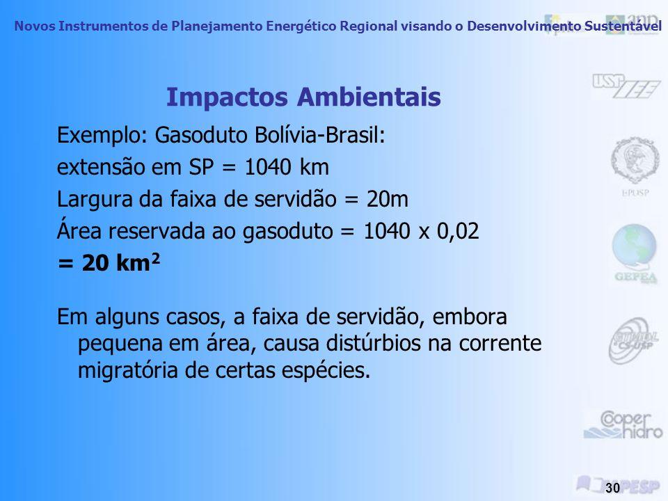 Impactos Ambientais Exemplo: Gasoduto Bolívia-Brasil: