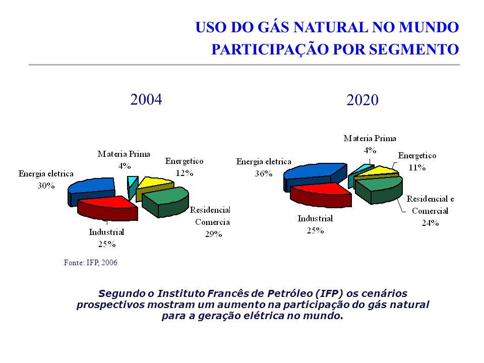 2004 2020 USO DO GÁS NATURAL NO MUNDO PARTICIPAÇÃO POR SEGMENTO