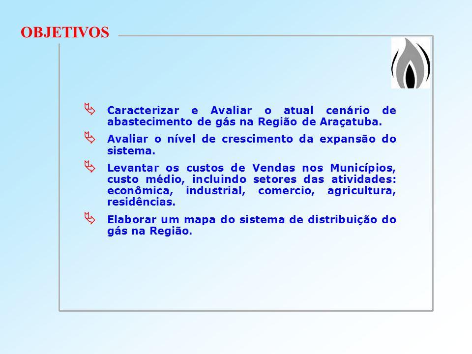 OBJETIVOSCaracterizar e Avaliar o atual cenário de abastecimento de gás na Região de Araçatuba.