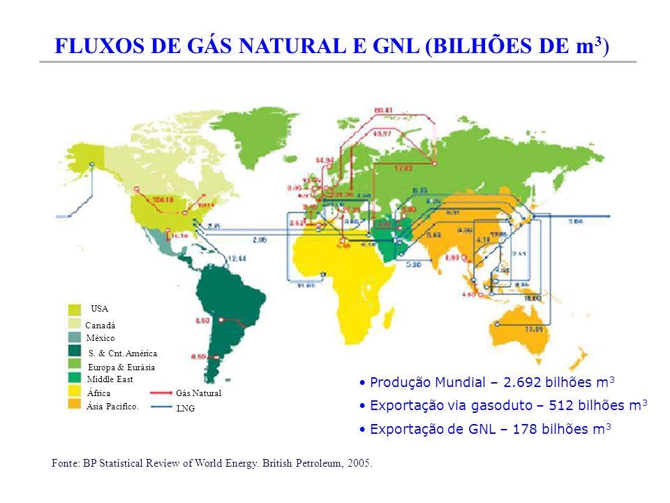 FLUXOS DE GÁS NATURAL E GNL (BILHÕES DE m3)