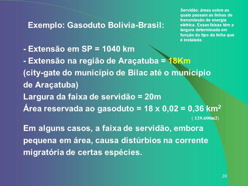 Exemplo: Gasoduto Bolívia-Brasil: - Extensão em SP = 1040 km