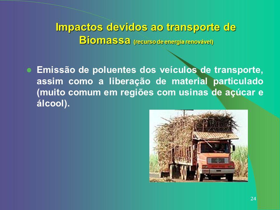 Impactos devidos ao transporte de Biomassa (recurso de energia renovável)