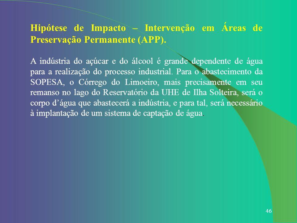 Hipótese de Impacto – Intervenção em Áreas de Preservação Permanente (APP).
