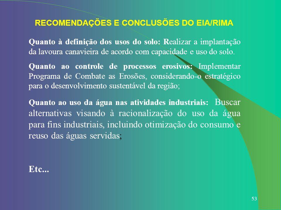 RECOMENDAÇÕES E CONCLUSÕES DO EIA/RIMA