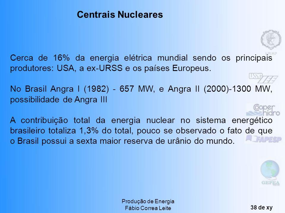 Centrais Nucleares Cerca de 16% da energia elétrica mundial sendo os principais produtores: USA, a ex-URSS e os países Europeus.
