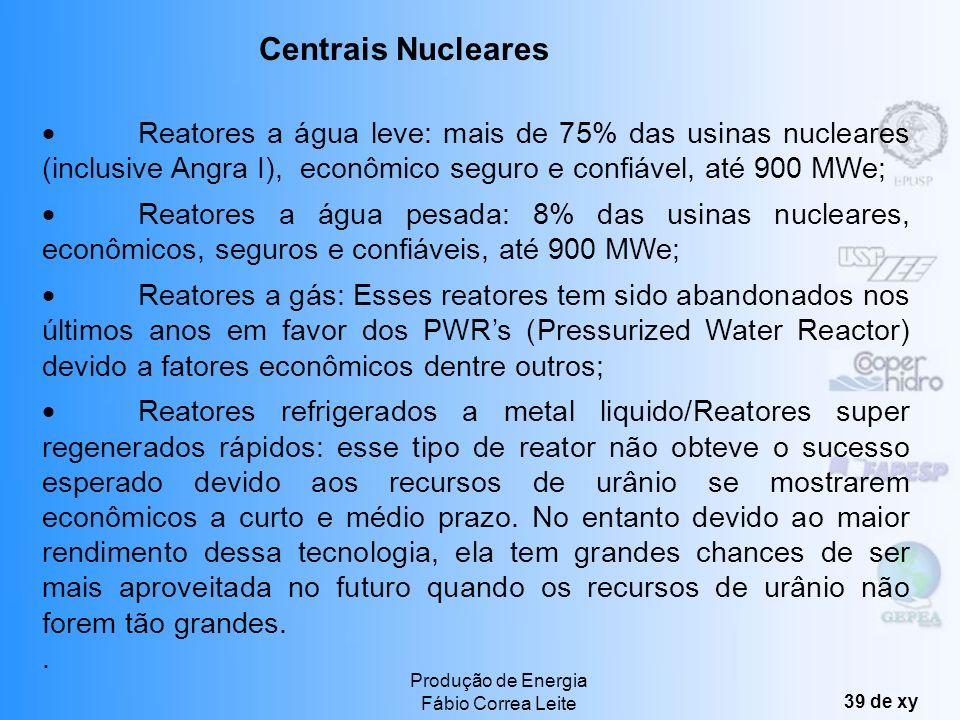 Centrais Nucleares · Reatores a água leve: mais de 75% das usinas nucleares (inclusive Angra I), econômico seguro e confiável, até 900 MWe;