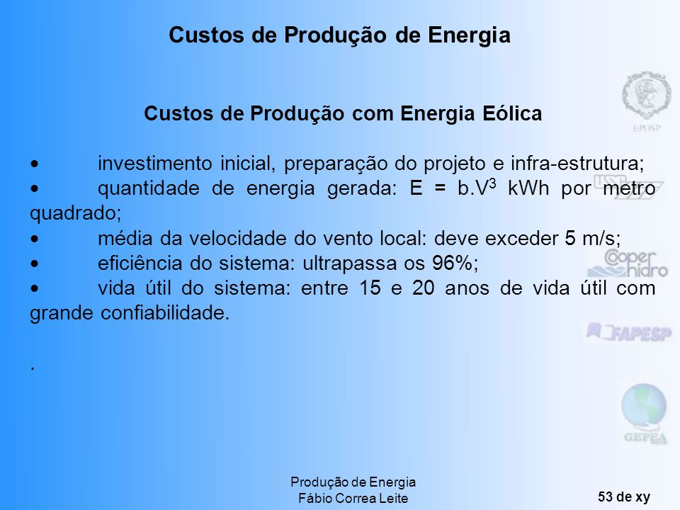 Custos de Produção de Energia Custos de Produção com Energia Eólica