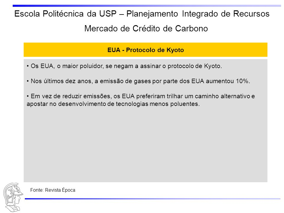 EUA - Protocolo de Kyoto