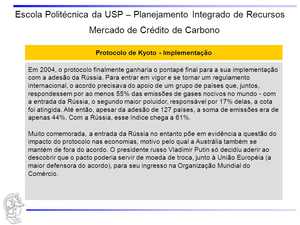 Protocolo de Kyoto - Implementação