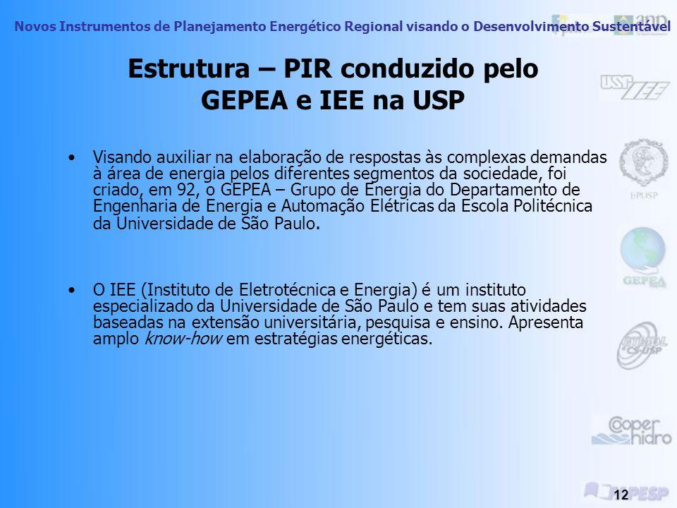 Estrutura – PIR conduzido pelo GEPEA e IEE na USP