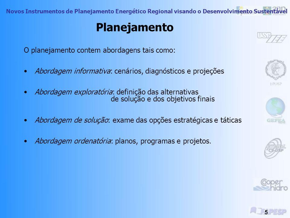 Planejamento O planejamento contem abordagens tais como: