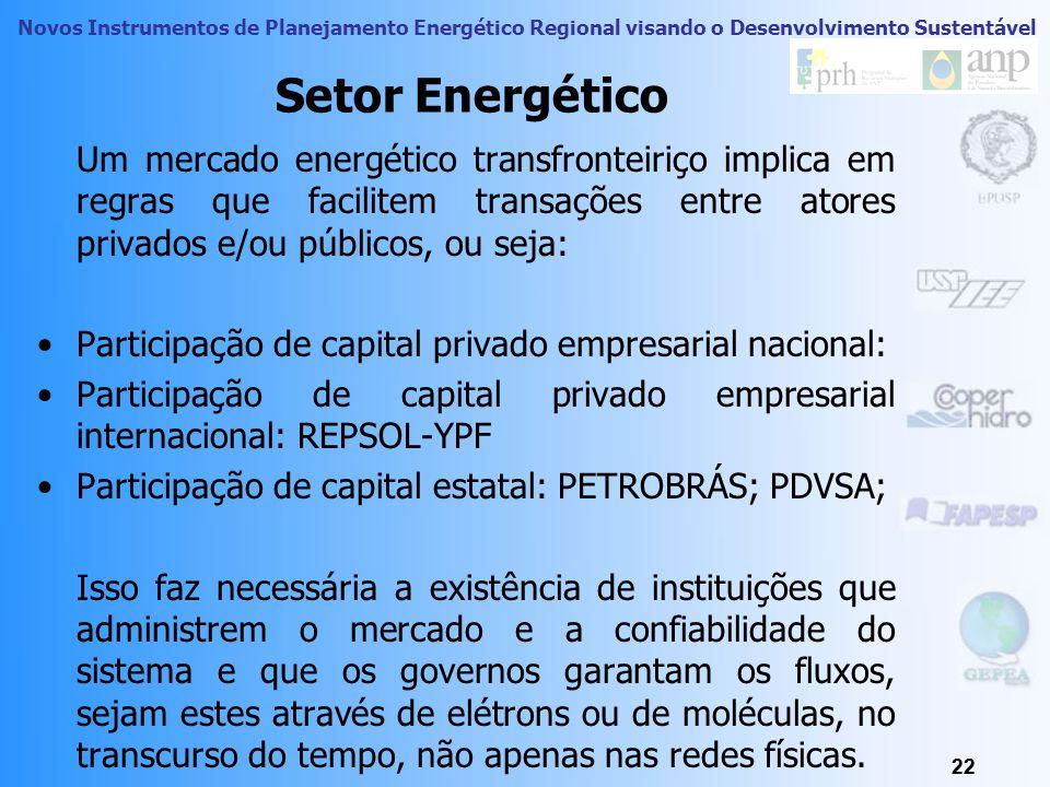 Setor Energético Um mercado energético transfronteiriço implica em regras que facilitem transações entre atores privados e/ou públicos, ou seja: