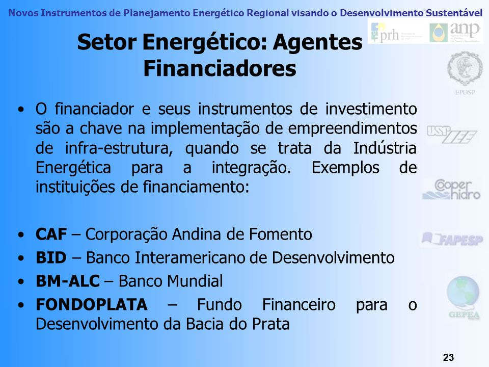 Setor Energético: Agentes Financiadores