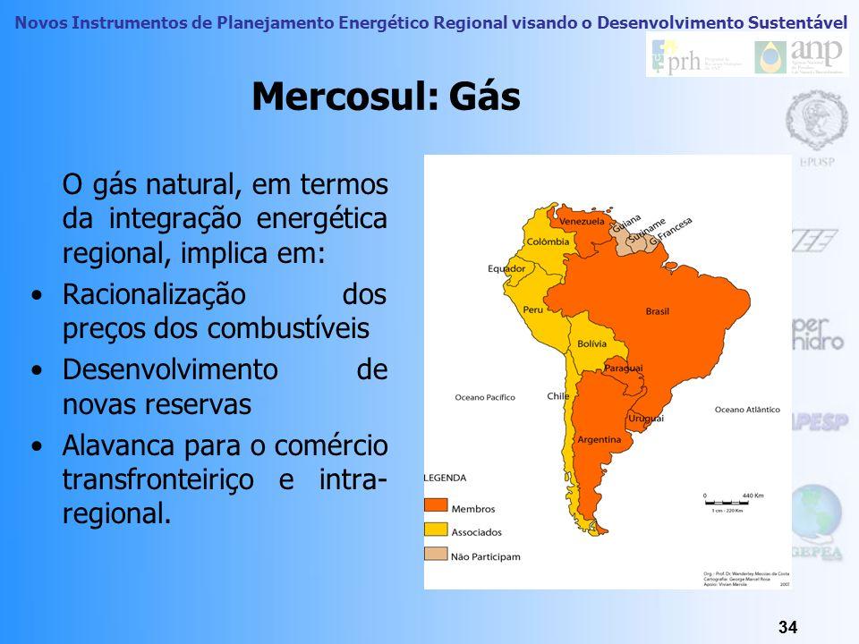 Mercosul: Gás O gás natural, em termos da integração energética regional, implica em: Racionalização dos preços dos combustíveis.