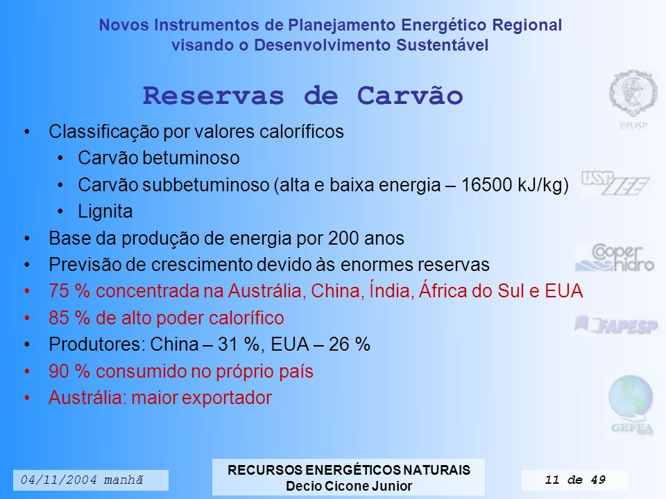 Reservas de Carvão Classificação por valores caloríficos